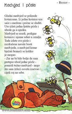 Medvjed i pčele - Najljepše dječje basne #priča #medvjed #pčele #basne #pouka Autumn Activities For Kids, Preschool Activities, Crafts For Kids, Croatian Language, Kids Library, Hat Crafts, Teaching Time, Alphabet For Kids, Kids Songs