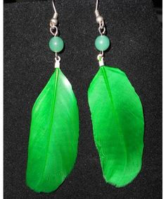 Green Feather Earring with Green Bead $8.00