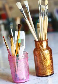 Lilyshop | How to Make Glitter Mason Jars. Nx