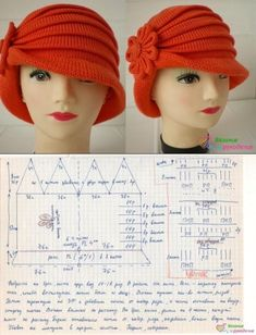 Laura Hat pattern by Olga Shepetilnikova Easy Crochet, Knit Crochet, Crochet Hats, Crochet Clothes, Knitting Patterns, Sewing Patterns, Crochet Patterns, Crochet Scarf For Beginners, Sombrero A Crochet