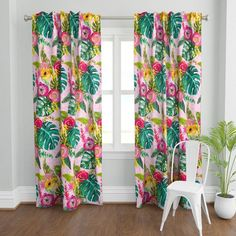 Tropical Curtains, Bright Curtains, Boho Curtains, Custom Curtains, Panel Curtains, Curtain Panels, Wall Treatments, Surface Design, Spoonflower