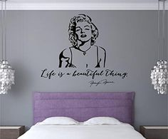 Marilyn Monroe Quote Life Is A Beautiful Thing Vinyl Decal Wall Decor Stickers Lettering Bedroom Home Decor 26x22 Enchantingly Elegant http://www.amazon.com/dp/B00O4RRNT6/ref=cm_sw_r_pi_dp_U314ub0JBS926