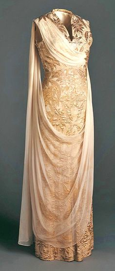 Silk brocade & chiffon dress by Irene, 1958.