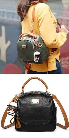 Retro Pure Color Multi-function Small Square PU Shoulder Bag Backpack only   32.99 e2a7c5c1c3