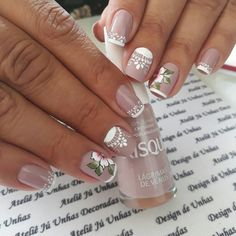 59 Modelos de Unhas com Esmalte Nude Mandala Nails, Gorgeous Nails, French Nails, Shellac, Nail Arts, Manicure And Pedicure, My Nails, Beauty Hacks, Nail Designs
