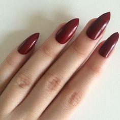 Matte nude stiletto nails, hand painted acrylic nails, fake nails,... ($14) ❤ liked on Polyvore featuring beauty products, nail care, nail treatments, nails, unhas, beauty, nail designs and nail polish