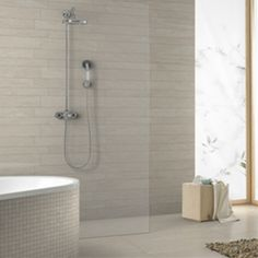 Vitra Pietra Pienza Rectified Light Grey Cut Decor 2 - 600x300mm - Bathroom Wall Tiles | Décor Tiles | Gemini Tiles