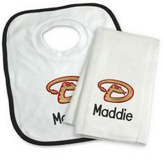 Arizona diamondbacks personalized pullover bib arizona our officially licensed personalized arizona diamondbacks bib and burp cloth set is an excellent gift for any family with a new baby negle Images
