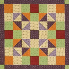 Create a simple wall hanging by carefully arranging squares and  triangle-squares. Fabrics are from the Jelly Beans collection by  Thimbleberries for RJR Fabrics [1].   [1] http://www.rjrfabrics.com