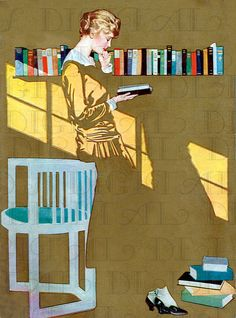 Gorgeous Art Deco Lady READING. Vintage Books  ILLUSTRATION.  Reading DIGITAL Download. Vintage Coles Phillips Print.