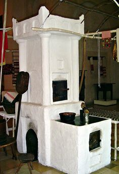 Rustic romanian oven, stove and heater
