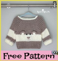 Crochet Baby Bear Sweater - Free Pattern #freecrochetpattern #babycrochet #freepattern #crocheting