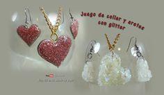 SOL EN SU MUNDO DE PAPEL: Juego de aretes y collar con glitter
