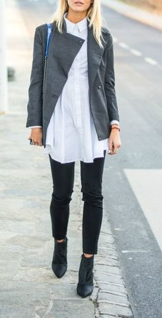 White button down tunic + ankle boots.