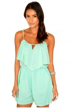 Missguided - Zahra Frill Keyhole Playsuit In Mint