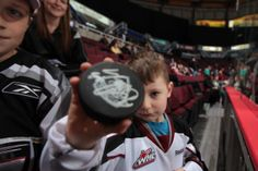 Pre-Game Fun - every night our players toss some autographed pucks into the stands during warm-up! Photo Credit, Boards, Warm, Night, Fun, Planks, Funny