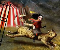 """When I was """"researching"""" circus-inspired imagery the other day (what a thing to """"research""""!) I found an artist on etsy that just blew me away. Her name is Lisa Falzon, and she currently resides in Ireland,. Circo Vintage, Circus Art, Dark Circus, Night Circus, Big Top, Vintage Circus, Pop Surrealism, Colorful Drawings, Amusement Park"""
