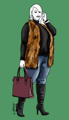 Auch fülligere Damen, wie dieser O-Figurtyp, können Fell- und Pelz-Westen tragen: am besten vorne offen zu ansonsten schmaler, figurnaher Kleidung.