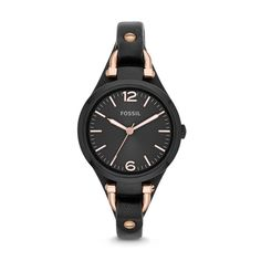 Our Georgia Three-Hand Leather Watch in Black Patent: layerable inspiration for your next look. #30looksfor30years