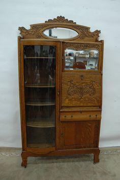 15884 Antique Oak Inlaid Serpentine Glass China Cabinet
