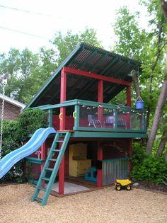 The kids/grandkids would LOVE this! #outsideplayhouse #kidsoutdoorplayhouse #backyardplayhouse