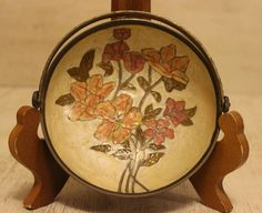 SOLD: Vintage Solid Brass Cloisonné Enamel Coral Rose Pink Inlay Bowl w/ Handle India