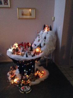 Christmas village. Used a large wire spool as a table.