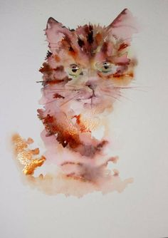 Kitten coming to life in watercolour Bockingford watercolour paper 140lbs. by Jean Haines