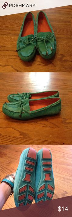 White Mountain Loafers Turquoise Suede slip on loafers w/ tie & silver tips by White Mountain. In good used condition. White Mountain Shoes Flats & Loafers
