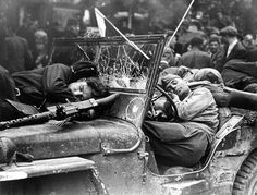Prague, May 1945. Red Army soldiers resting in their jeep.