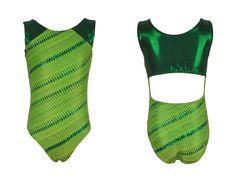 Old Wise Turtle Green Flashy Girls Gymnastics Leotard