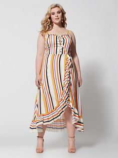 0424a6033237 Shop Bedelia Stripe Ruffle Maxi Dress. Find your perfect size online at the  best price. Fashion to Figure