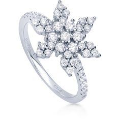 BERRICLE Sterling Silver CZ Snowflake Fashion Right Hand Statement... ($35) ❤ liked on Polyvore featuring jewelry, rings, clear, women's accessories, sterling silver cz rings, cz band ring, sterling silver rings, cubic zirconia rings and sterling silver jewelry