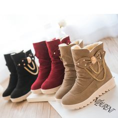 Women Height-increasing Martin Boots Flat with Heavy-bottomed Short Snow Boots