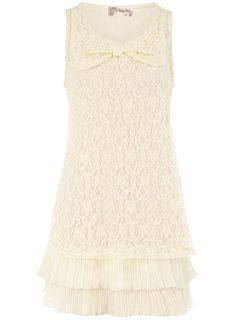 Cream Lace Bow Dress   $28.00