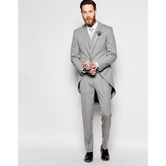 ASOS Wedding Skinny Morning Suit Jacket With Tails in Grey (57,650 KRW) ❤ liked on Polyvore featuring men's fashion, men's clothing, men's suits, mens grey suits, mens beach wedding apparel, mens gray suit, mens skinny fit suits and tall and skinny mens clothing