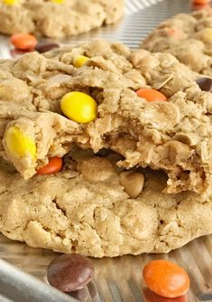 Triple Peanut Butter Monster Cookies - Together as Family Peanut Butter Chip Cookies, Peanut Butter Dessert Recipes, Soft Monster Cookies, Cookie Monster, Reese's Pieces Cookies, Amazing Cookie Recipes, Yummy Cookies, Fall Cookies, Cookie Desserts