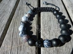 Yin Yang Black Cracked Agate and Matte Black Agate Shamballa Bracelet