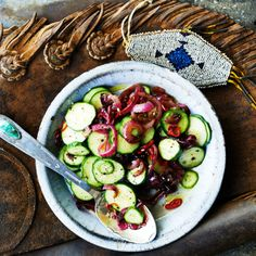 Cucumber and Charred Onion Salad, Bon Appetit June 2015