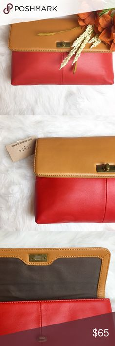 NEW J. Crew Clutch Brand New J.Crew Clutch. 100% Genuine Leather. Interior Pocket. Color Combination of Red & Tan (Vibrant Flame & Pecan) , Colorblock style. The clutch is accented with a gold turn lock clasp. The Perfect Gift or unique clutch bag for yourself! In Excellent Condition. Offers Accepted. 🍁🍂🍁 J. Crew Bags Clutches & Wristlets