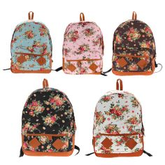Pastoral Style Canvas Flower Schoolbag Bookbags Backpack