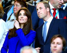 Kate Middleton and Prince William, Duke of Cambridge attend the opening ceremony of  the 2015 Rugby World Cup Pool A match between England and Fiji at Twickenham Stadium on September 18, 2015 in London, United Kingdom.