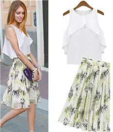 Cool 2Pcs White O-Neck Sleeveless Chiffon Top Print Pleated Skirt