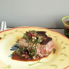Bison Steak with Cranberry Chimichurri for #SundaySupper