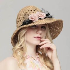 Fascinator flower straw hat for girls packable sun hats UV protection