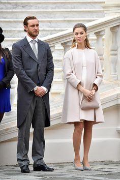 Pierre Casiraghi and Beatrice Borromeo attend the Monaco National Day Celebrations in the Monaco Palace Courtyard on November 19 2016 in Monaco Monaco