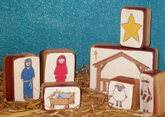 Sweet wood nativity set (kids color or paint the pictures?)