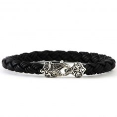 Scott Kay Men's Sterling Silver and Black Leather Equestrian Bracelet
