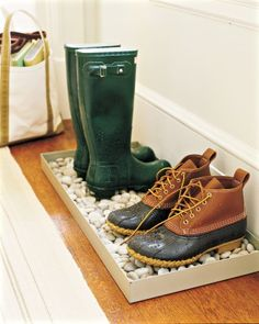 Kick Off Your Shoes - Take a cue from Martha and enforce a no-shoe policy inside your home. Outdoor shoes transfer bacteria like E. coli to floors, according to a study done at the University of Arizona. At the door, set out a basket of slippers or skid-resistant socks to encourage the habit for family members and guests alike.