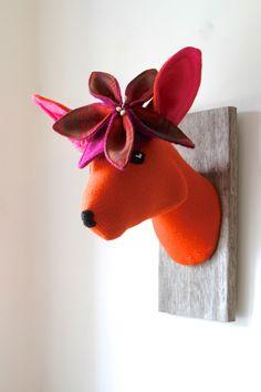 Orange & pink faux taxidermy deer head. Handmade doe trophy, tartan flower hat.